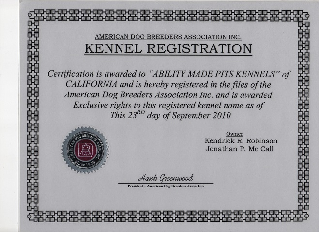 Our Credentials - ABILITY MADE PITS (AMP) KENNELS